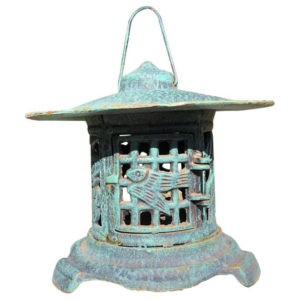 blue birds and bamboo motif lantern