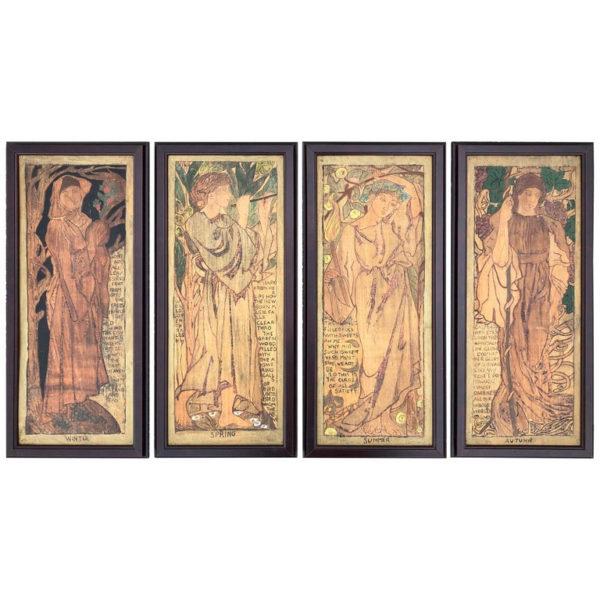 English Shakespearean Four Seasons Arts & Crafts Panels