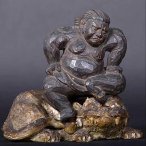 Mingei wooden carving of Sumo wrestler