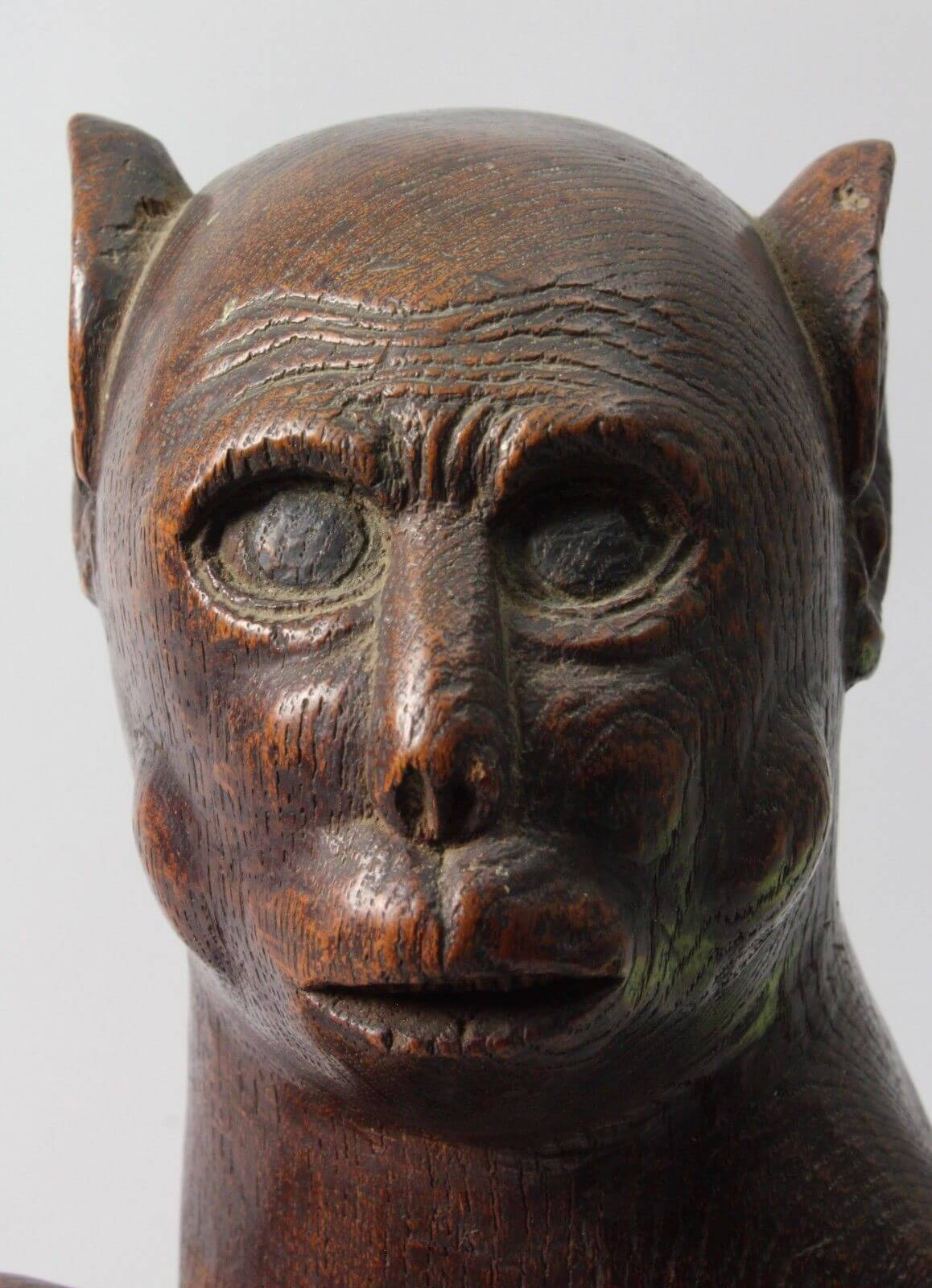 Japan hand carved wood th century monkey mingei folk