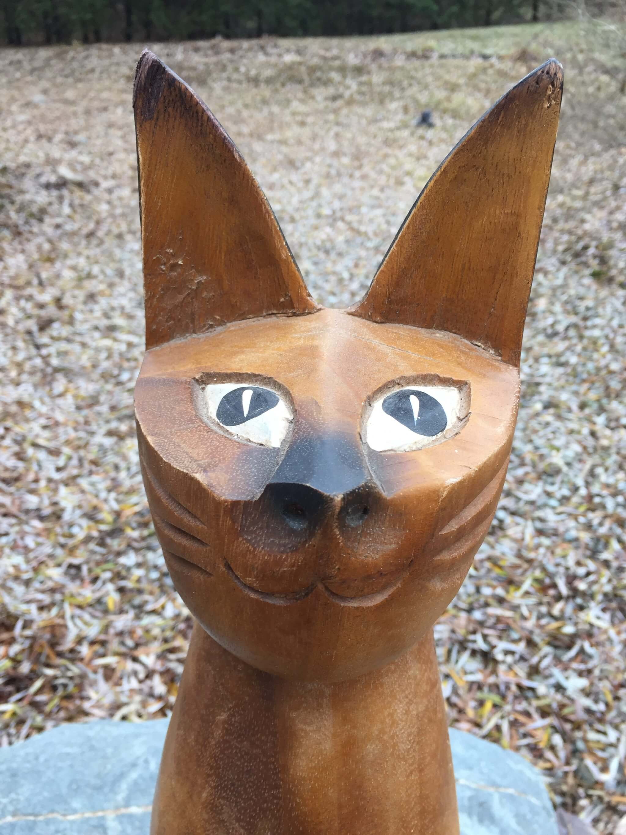 Old siam wooden hand carved painted cat quot tall