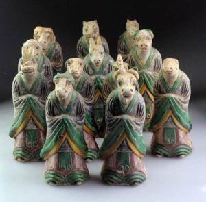 Charming Ming Dynasty Pottery Attendant set of Zodiac Animals