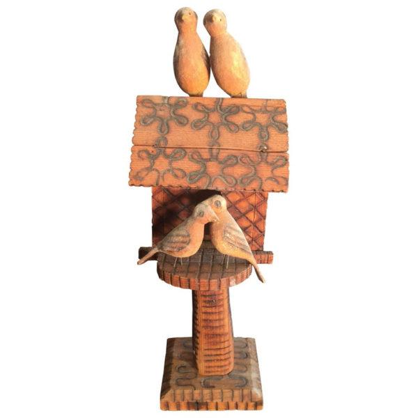 American Antique Hand-Carved Folk Art Birds House