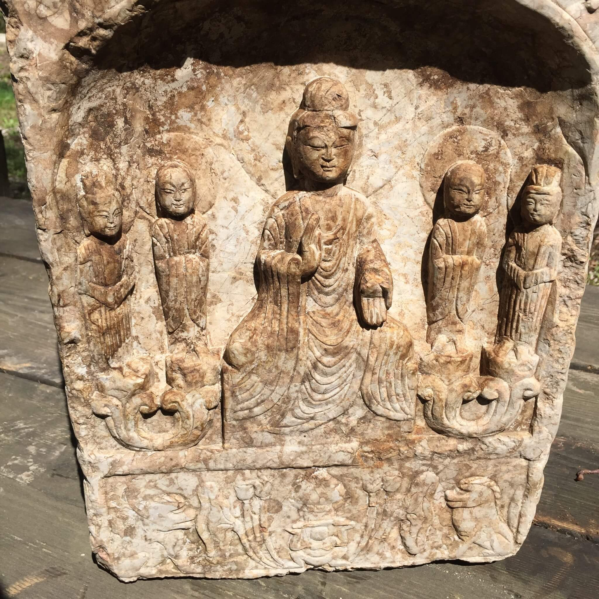 Fine antique chinese hand carved stone garden buddha