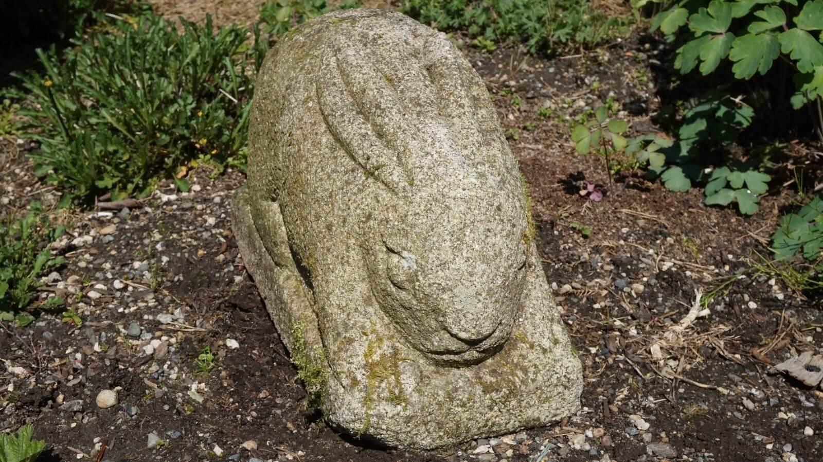 Korean antique hand carved granite stone big eared effigy