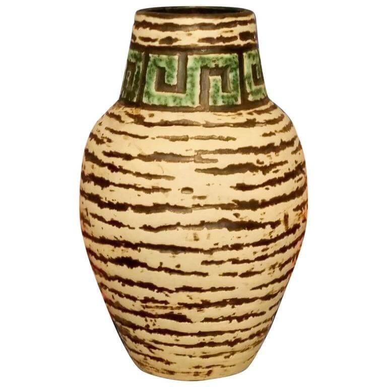 Contemporary handmade hand glazed relief carved vase