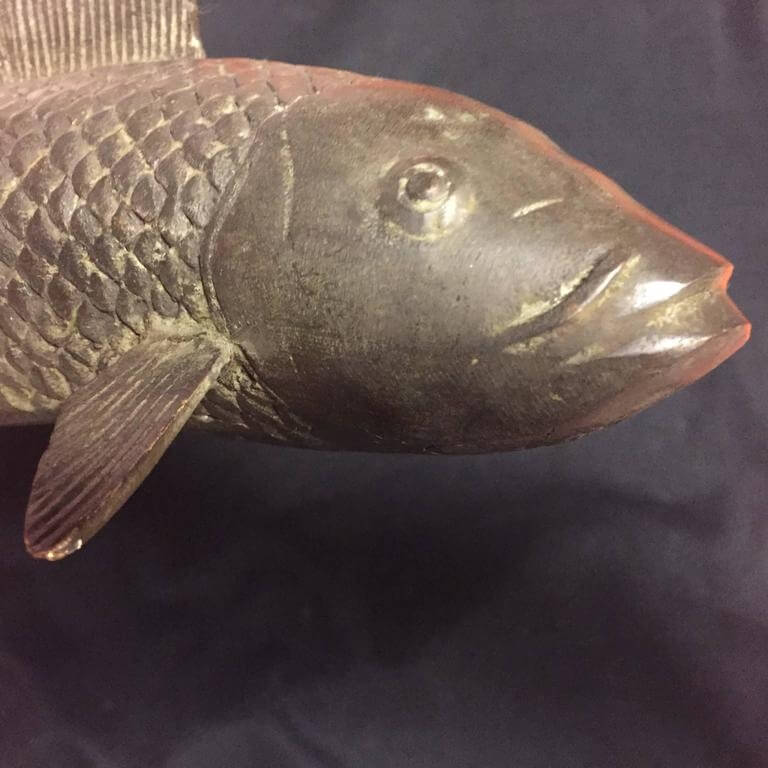Old japan large hand cast bronze koi fish fortune and for Oldest koi fish