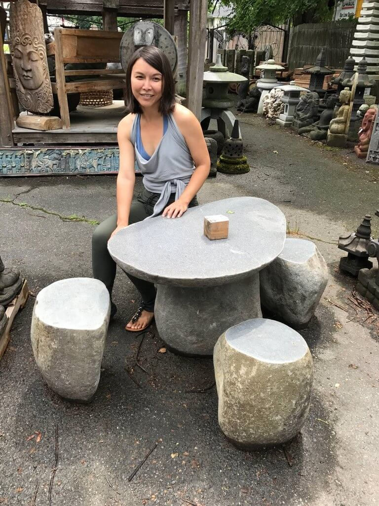 hand-carved garden stone table & stools six pieces solid limestone