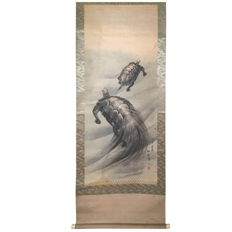 Antique Japanese Scroll: Giant Sea Turtles Antique Japanese Hand Painted Scroll