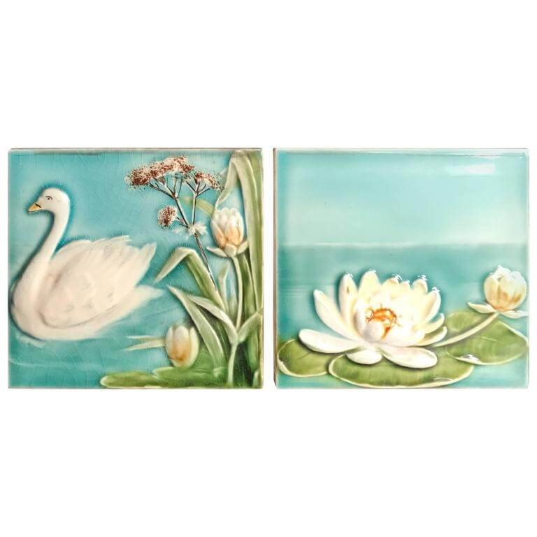 Antique Hand Painted Swan And Lotus Tiles Brilliant Blue