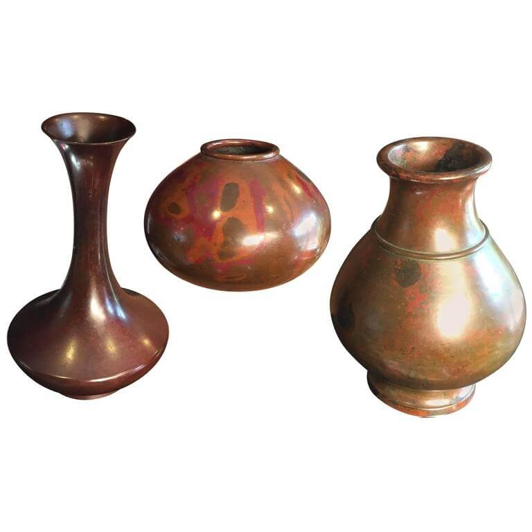 Japan Antique Value Collection Three Hand Cast Red Bronze Vases