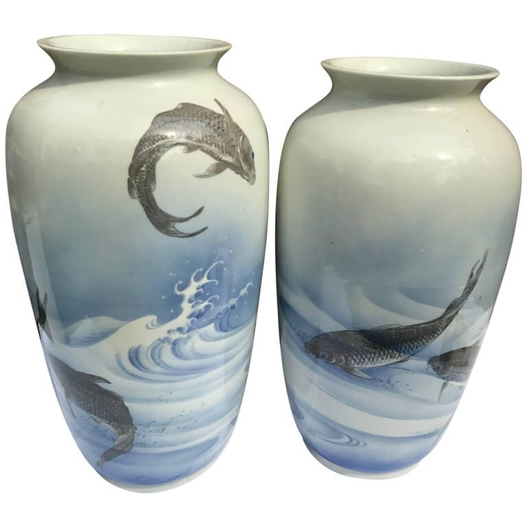 Monumental Japanese Antique Koi Wave Vases Hand Painted Early