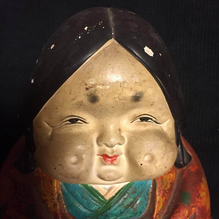 Japanese Ceramic Doll Okame Hand Painted Gem From Early 20th