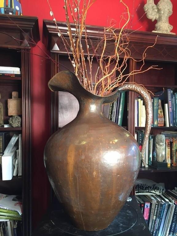 Huge Italian Antique Copper Master Work Vessel Vase Original