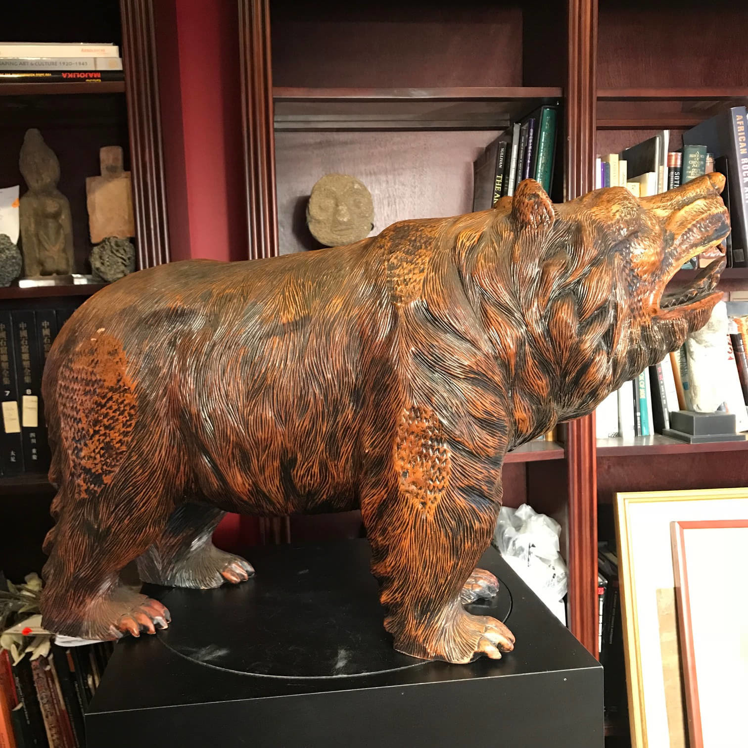 Fresh Japanese Huge Old Hand-Carved Wooden Bear , Ainu People  OB15