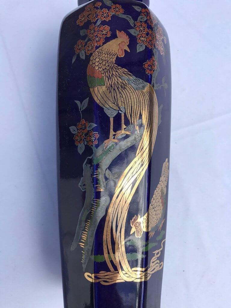 Japan Brilliant Gold Hand Stencilled And Painted Blue Bird Vase Mint Schneible Fine Arts Llc