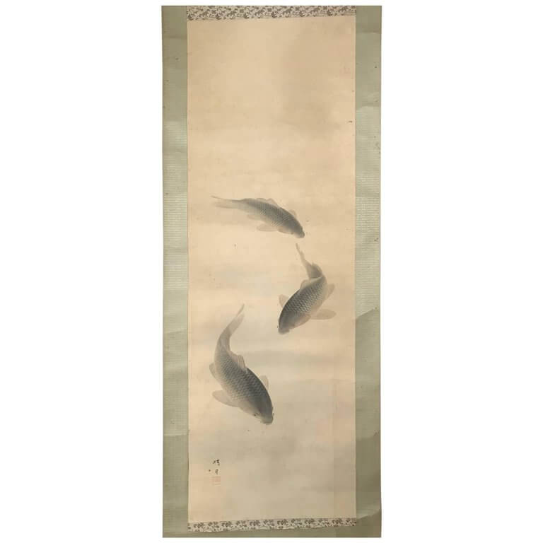 Antique Japan Scroll Three Koi Fish Silk Hand Painting, Signed Box