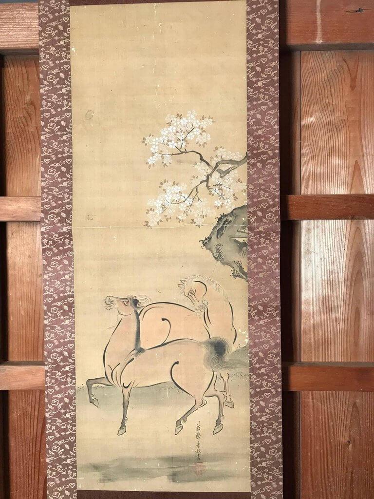 Japan Antique Two Horses Hand-Painted Silk Scroll & Spring Sakura ...
