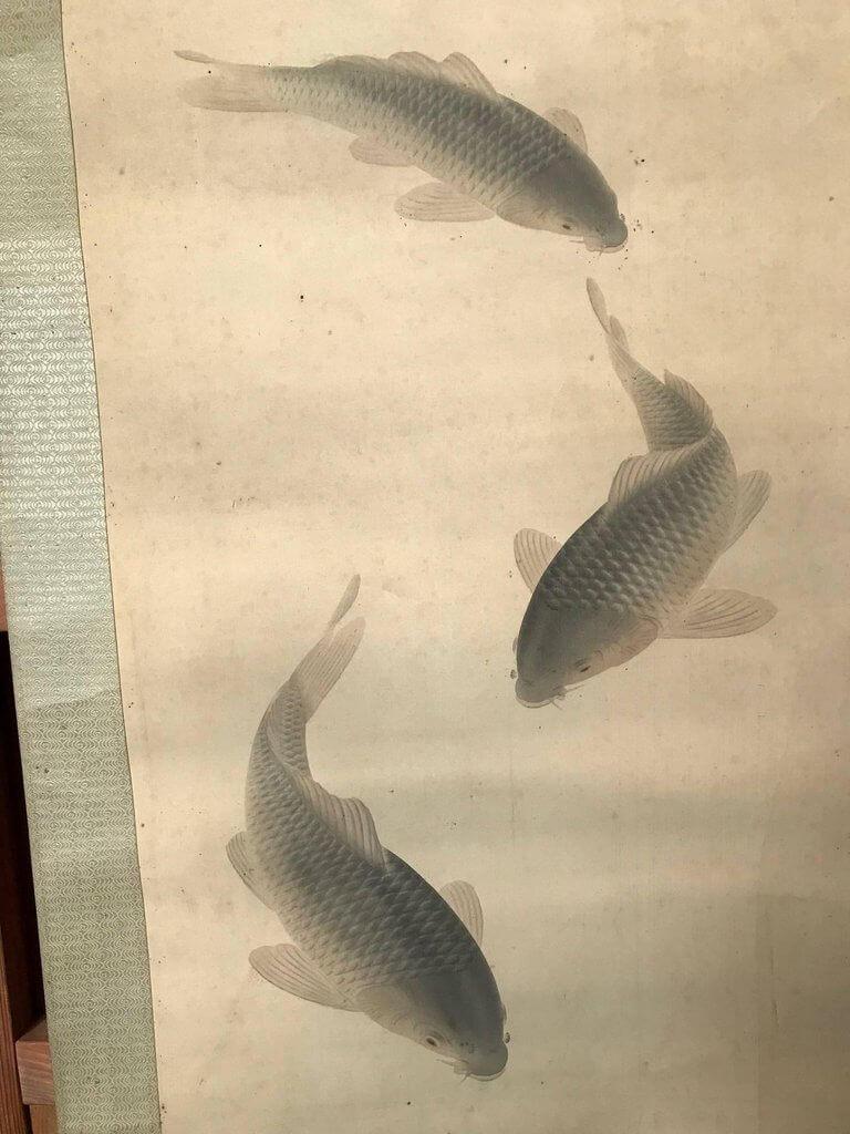 Antique Japan Scroll Three Koi Fish Silk Hand Painting
