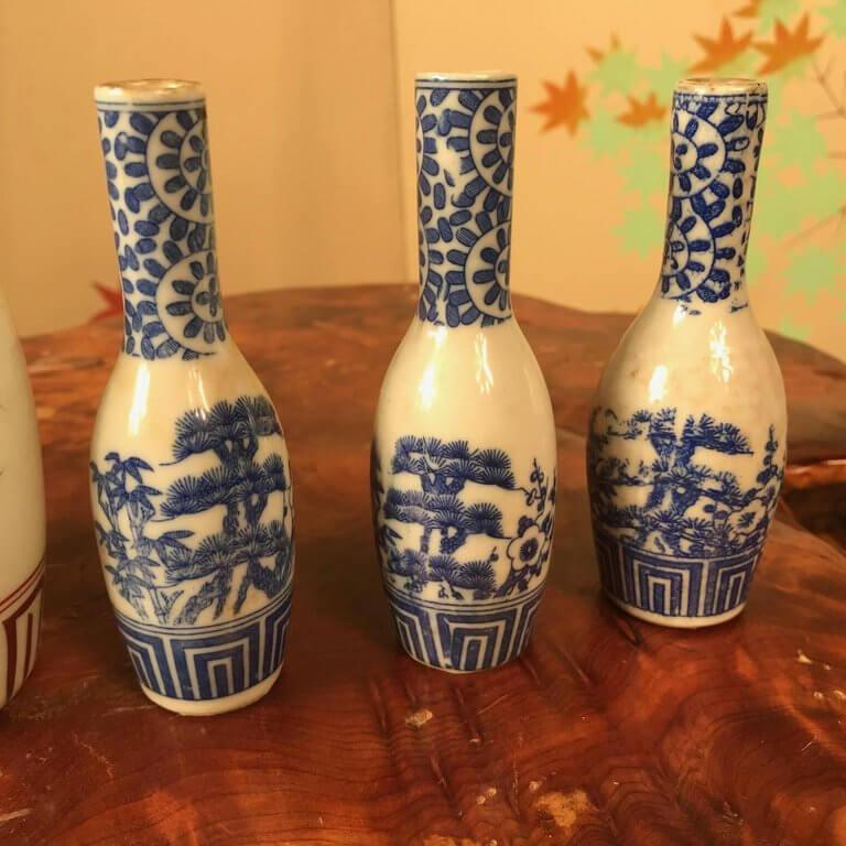 Japanese Antique Hand Painted Ceramic Sake Bottles Collection 19th Century Schneible Fine