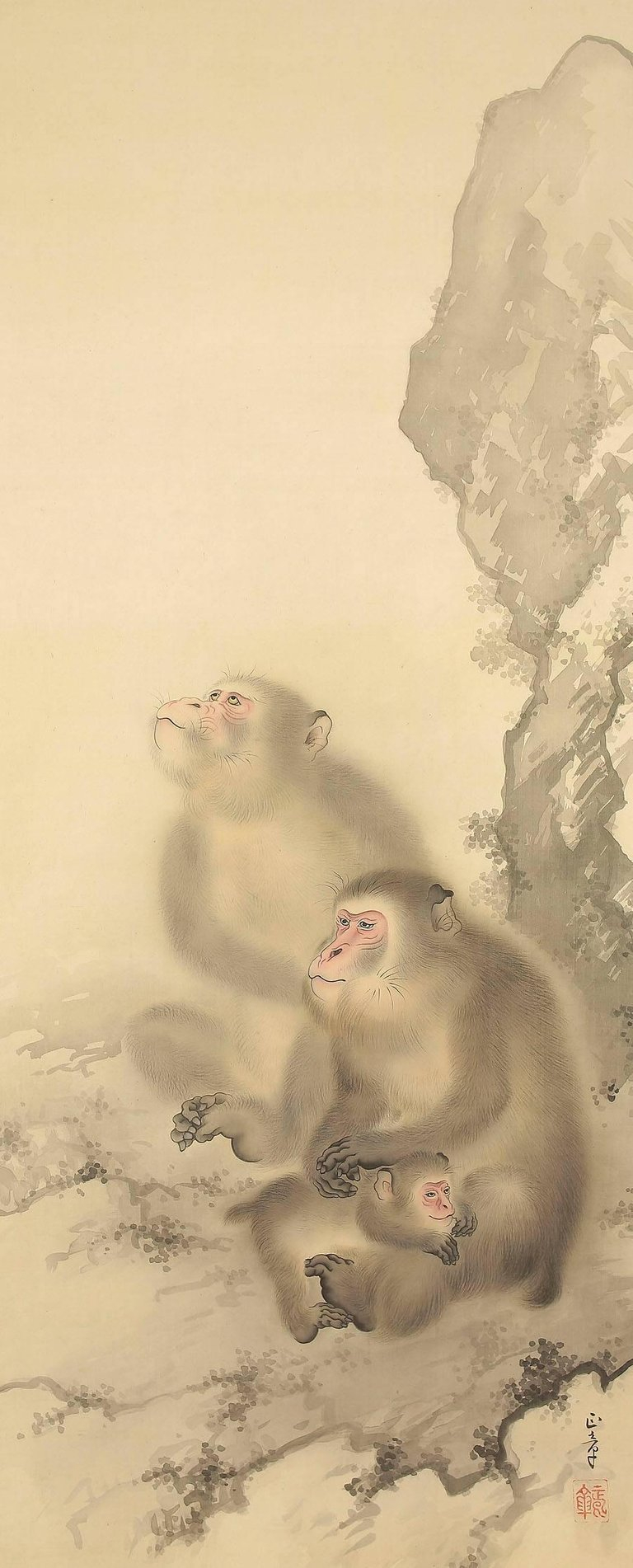 Japanese Charming Scroll Three Monkey Family Hand Painting on Silk