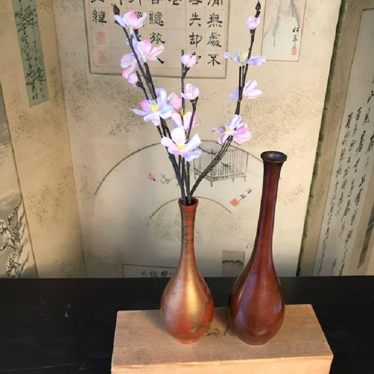 Japan Vintage Pair Modernist Flower Bud Ikebana Bronze Vases Signed