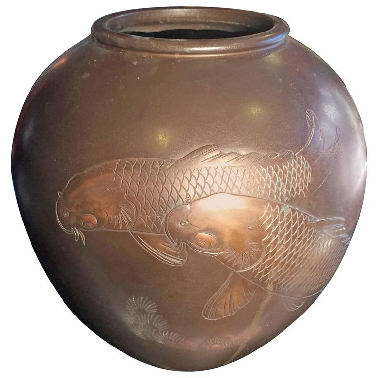 Fine Antique Japanese Double Koi Hand Cast Bronze Vase Mintsigned