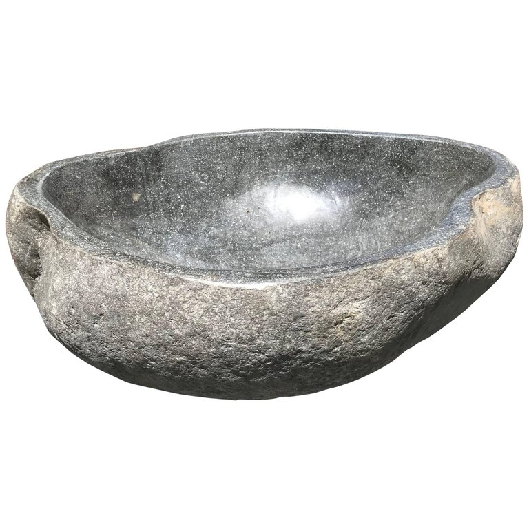 Great Larger Organic Carved Natural Stone Bowl And Planter