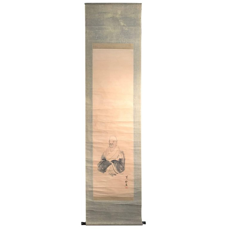 "Antique Japanese Scroll: Japan Antique ""Matsuo Basho"" Most Famous Poet's Scroll"