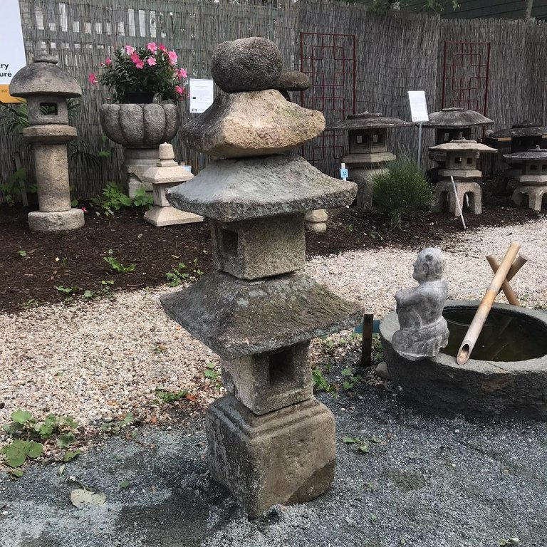 Japan Antique Tall Stone Three Roof Pagoda Lantern, 48\u2033
