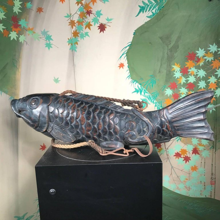 dd22e4c357ca Japanese Huge Antique Hand Carved Wood Koi Good Fortune Fish, 19th Century