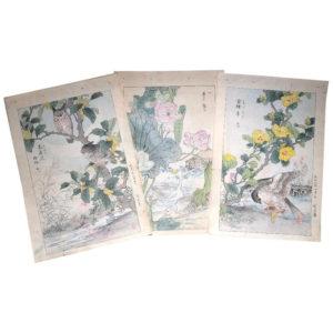 Bairei Owls & Flowers Paintings