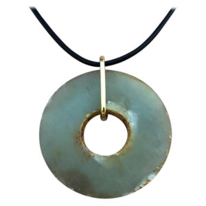 Heavenly green jade bi 18k gold necklace