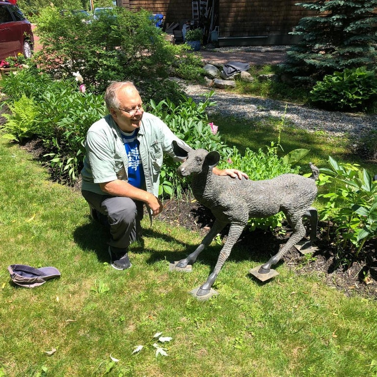 "Large Japanese Bronze Garden Deer Sculpture- 36"""