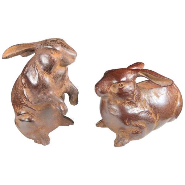 cast bronze rabbits