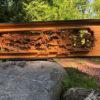 Garden with long bridge garden screen