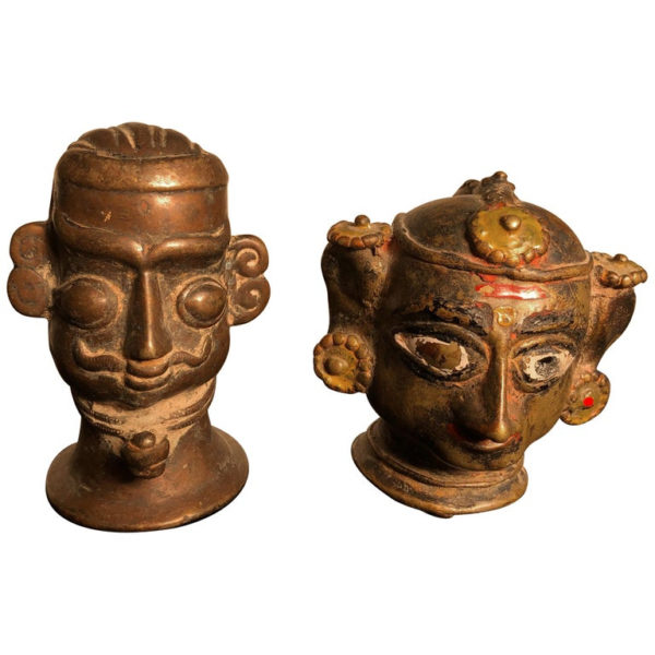 Painted Indian Votives pair
