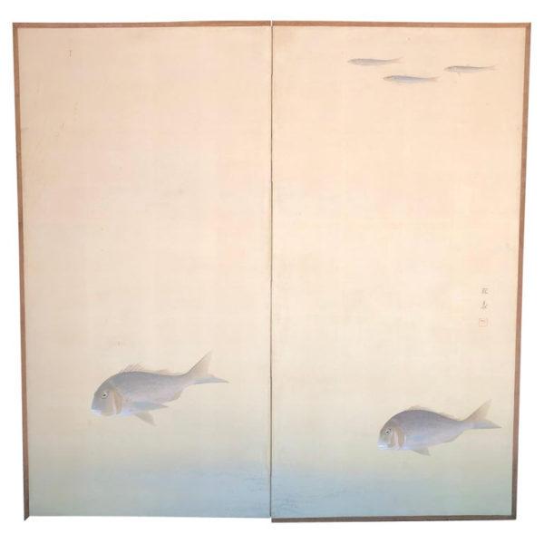 Peaceful swimming fish screen byobu