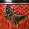 Red Lacquer Butterfly Planter Bowl