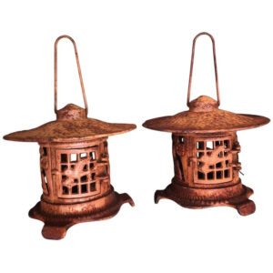 Tea Garden Lantern with bird and bamboo motif