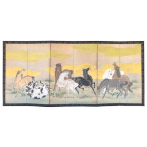 Antique Screen 8 Stunning Steeds - Life like Horses from the 19thc