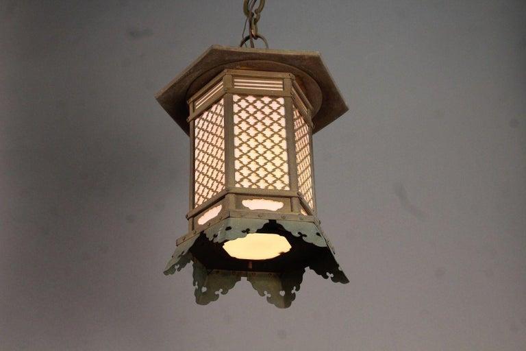 Anese Antique Pair Of Fine Bronze Pendant Lantern Light Fixtures
