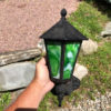 Green glass arts & crafts wall sconces