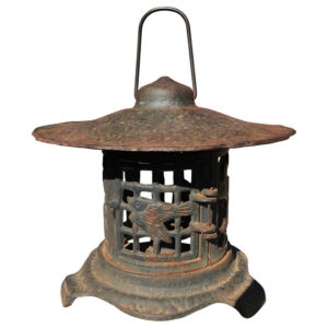"""antique lantern, with a """"Bird and Bamboo"""" motif"""