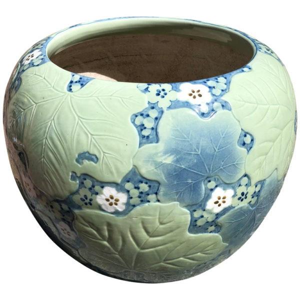 Antique Big Brilliant Blue Ceramic Planter Bowl