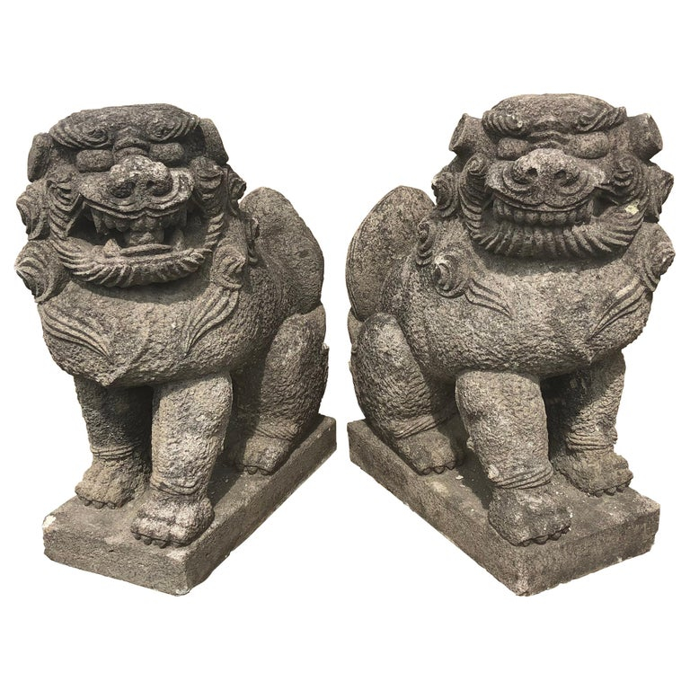 stone komaimu guardian lion-dog pair