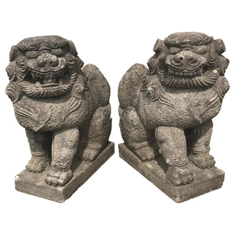 stone komaimu guardian lion-dog pair
