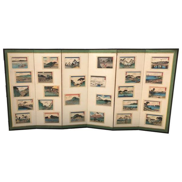 "Vintage Hiroshige ""Tokaido Road"" Screen Byobu"