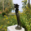 Isao Bronze Woman with Hat Sculpture