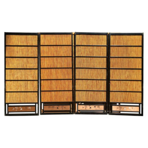 Black Lacquer Shoji Doors Screens Birds & Bamboo